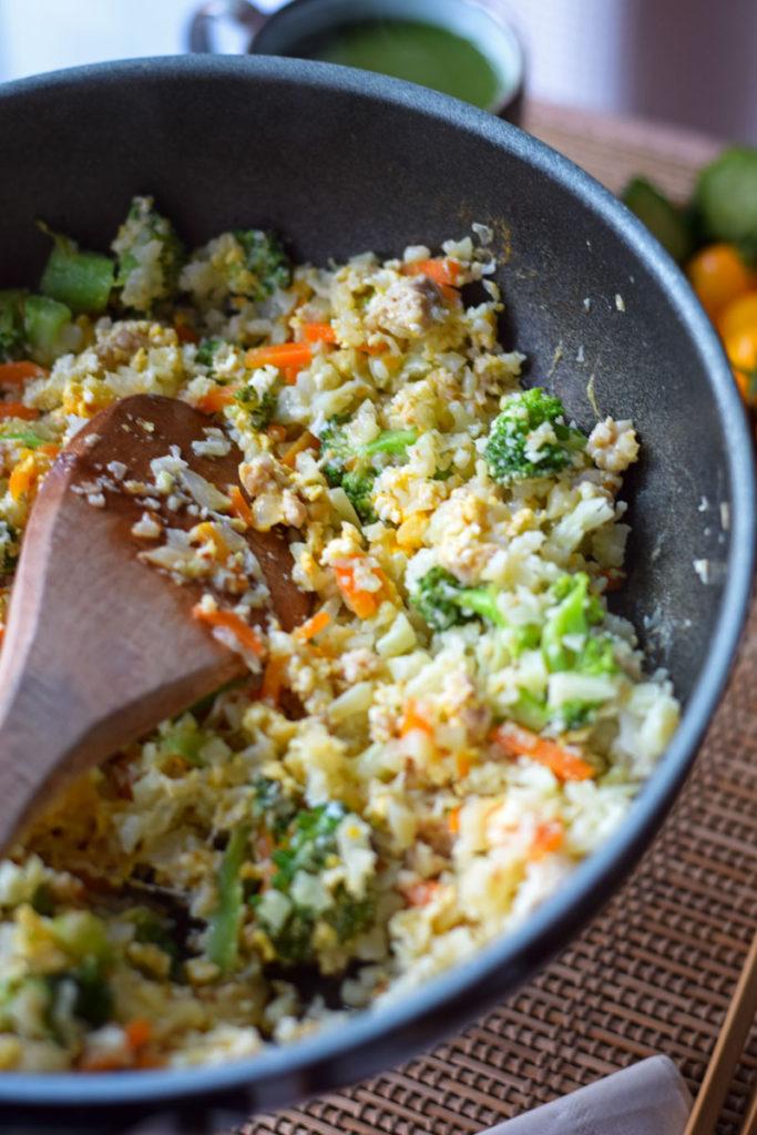 cooking cauliflower fried rice
