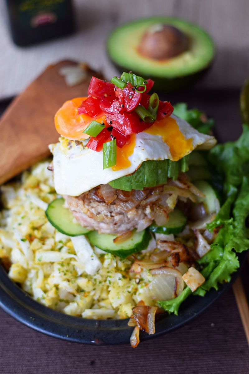 Loco Moco With Caulflower Rice Keto Low Carb Recipe Eyesandhour