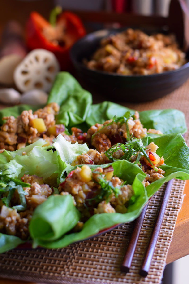 Lettuce Wraps with Chicken For Miso Lovers
