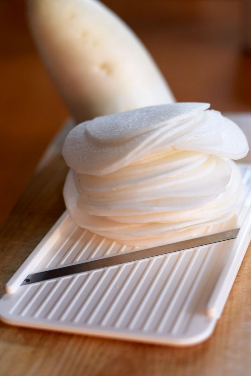 daikon radish slices to use as healthy wonton wrappers