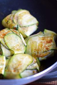 cooking zucchini recipe- wrapped gyoza in fry pan