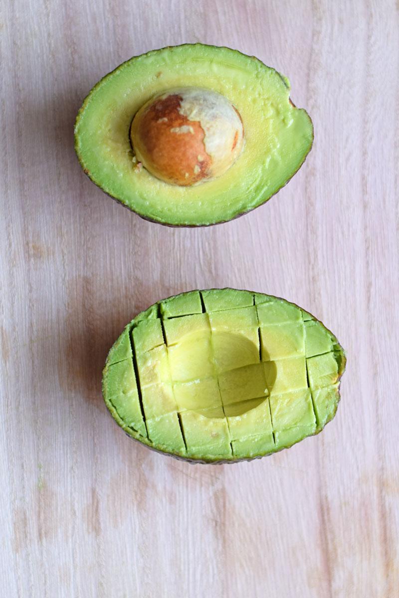 how to cut avocado inside the skin