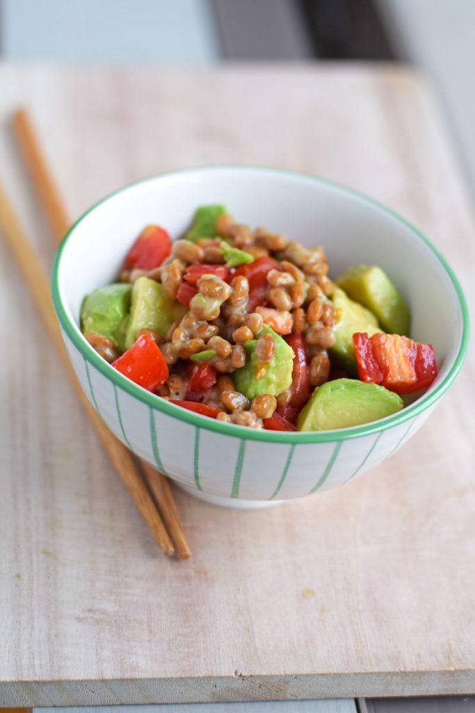natto recipe with avocado and tomato
