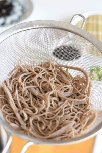 100 % buckwheat soba noodles in strainer