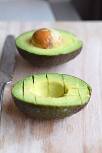 cut avocado inside skin