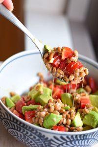 mix natto with tomato and avocado