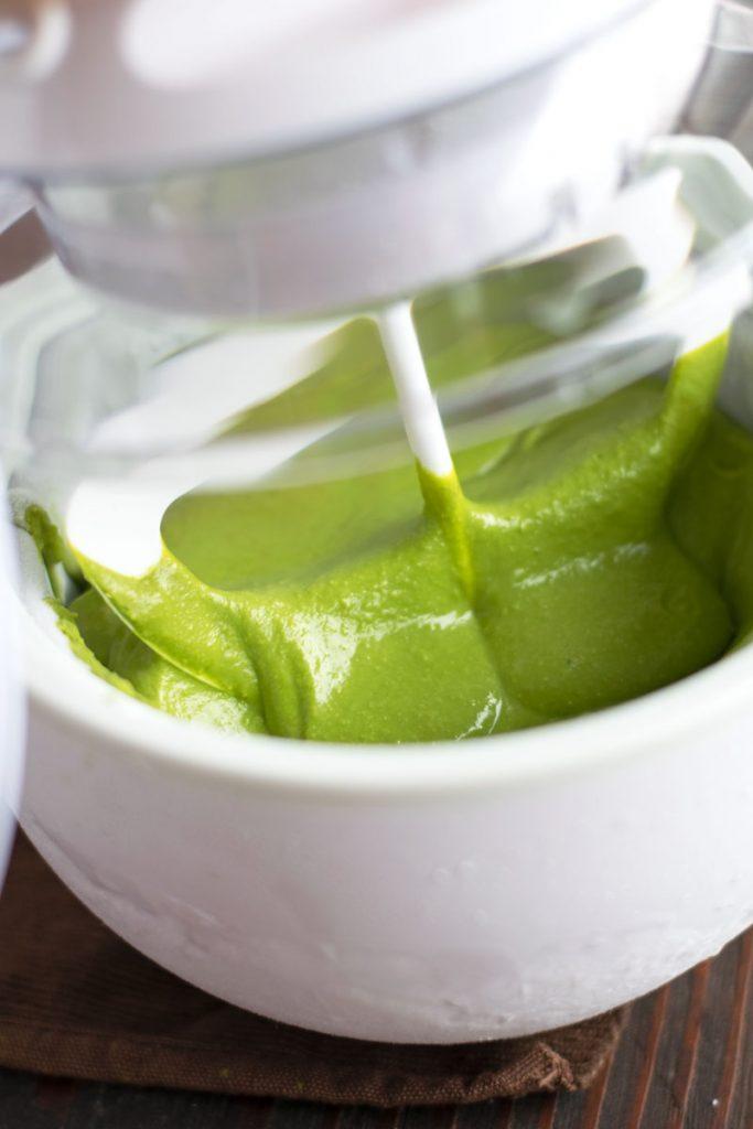 churning vegan matcha ice cream
